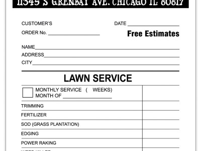 Landscaping Invoice Sample | ChicagoInk.Printshop