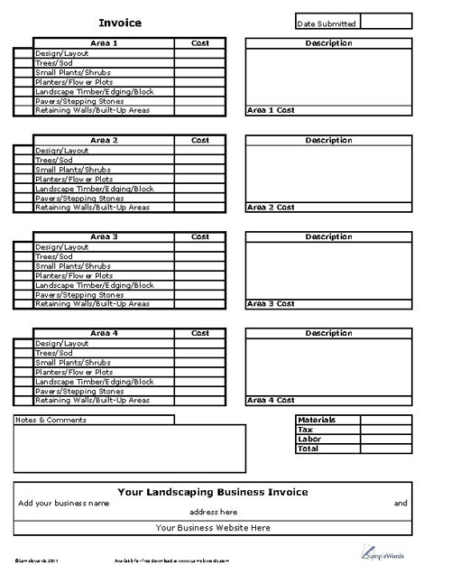 Landscaping Business Invoice Sample Landscaping Invoice Safero