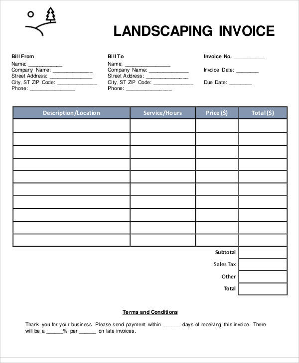 6+ Landscaping Invoice Samples – Examples in PDF, Word, Excel