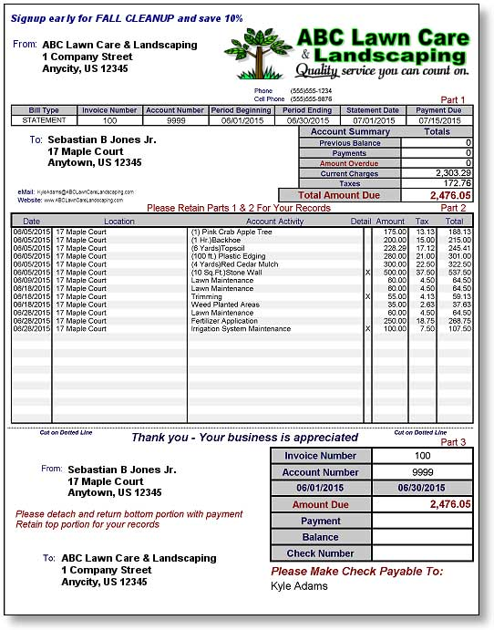 Sample Landscaping Invoice Landscaping Invoice Exolgbabogadosco