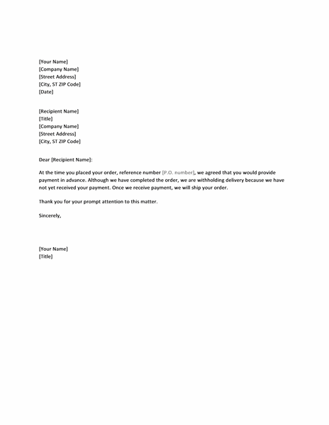 sample letter for invoice payment