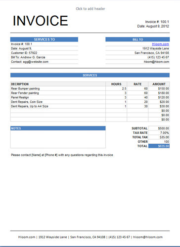what is service invoice