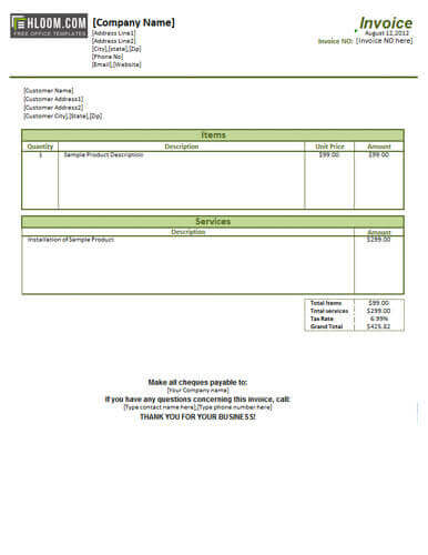 sample of an invoice for services Ecza.solinf.co