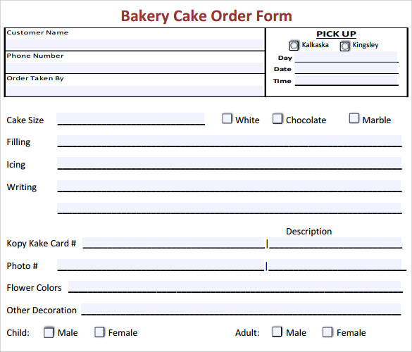 16+ Cake Order Form Templates | Sample Templates