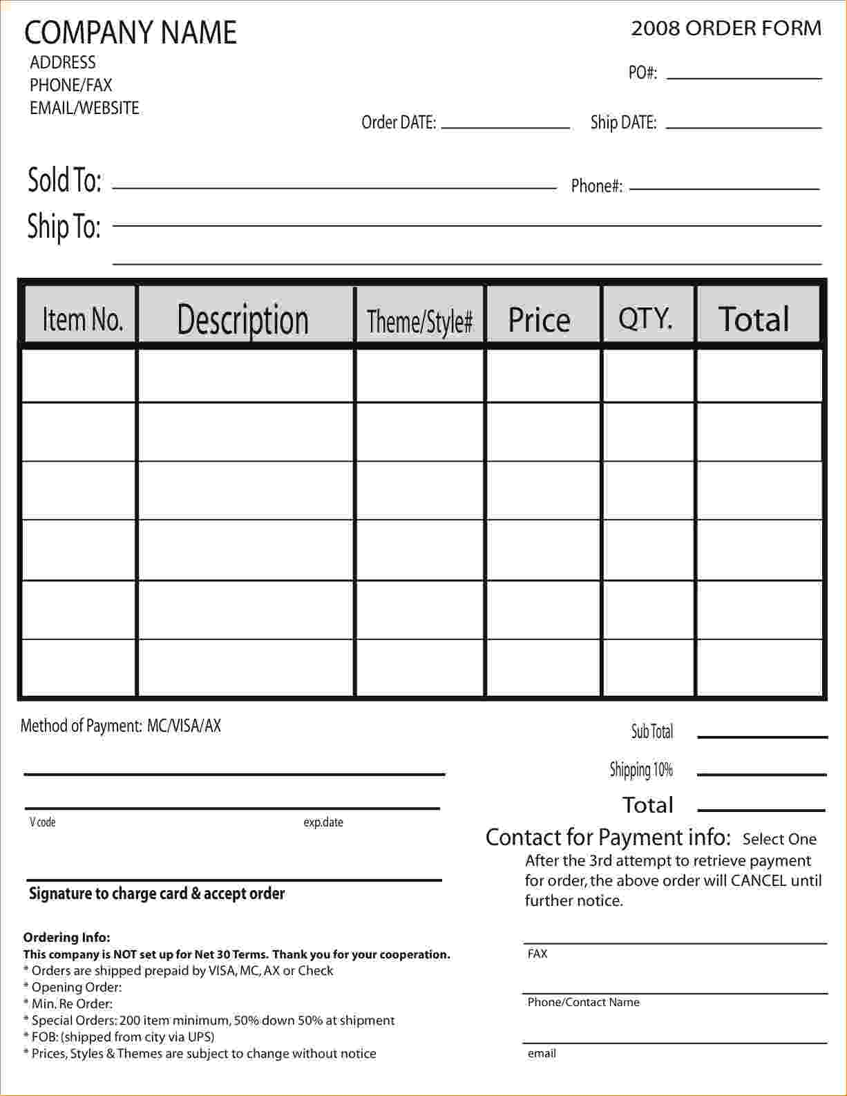 order forms examples Ecza.solinf.co