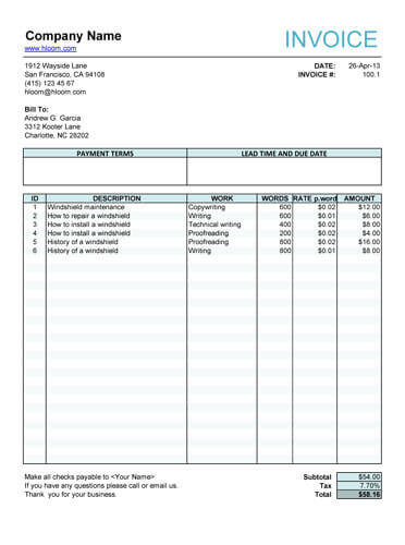 Work Invoice Templates | dascoop.info