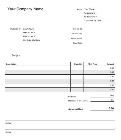 free sample of invoice Ecza.solinf.co