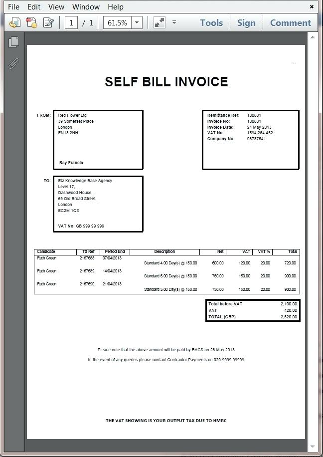 Self Billing Invoices Billing Invoice Format Self Bill Invoice