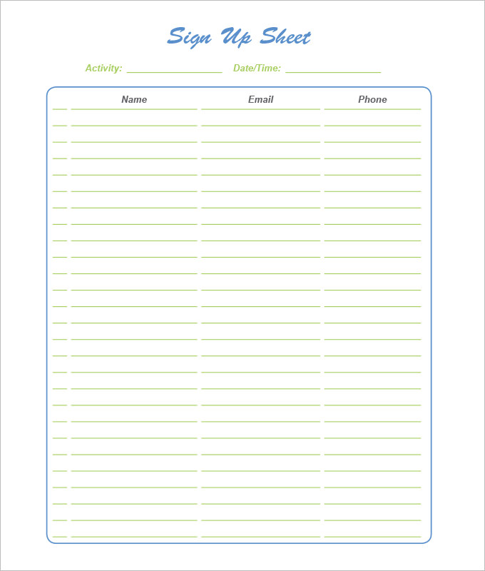 Excellent Make A Signup Sheet Inspiration Resume Ideas Sign Up