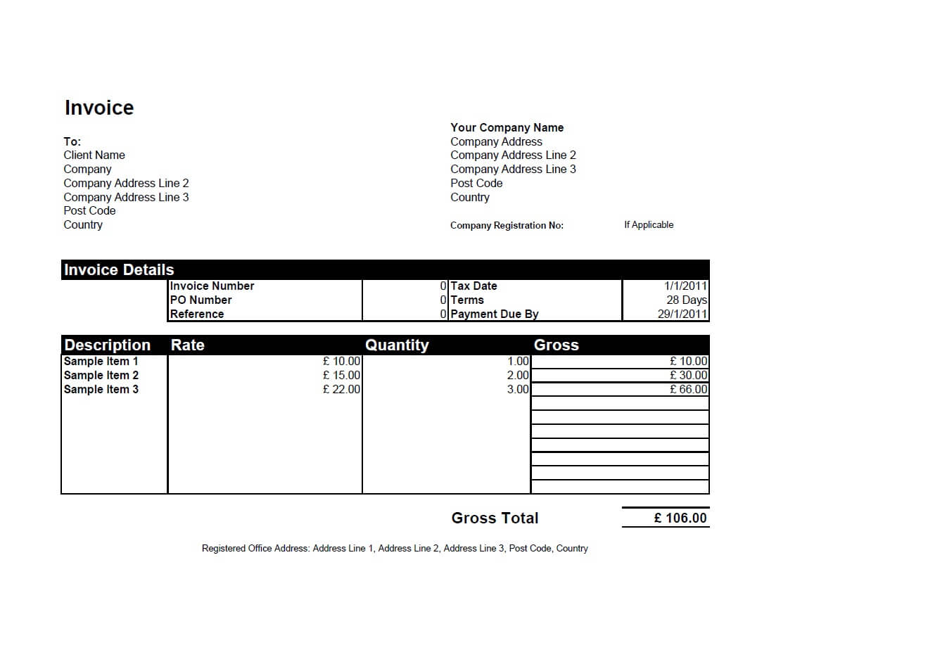 plain invoice template basic invoice template excel basic simple