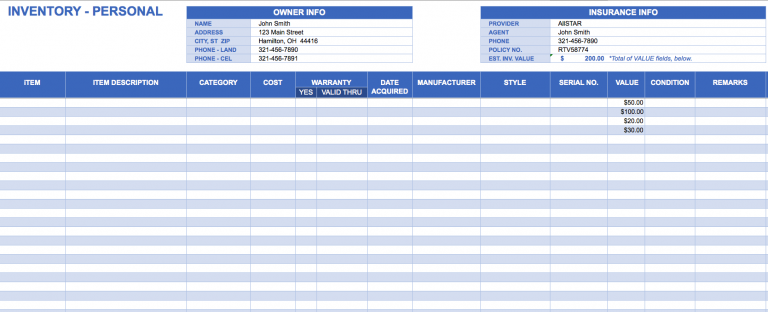 stock inventory spreadsheet personal inventory 0