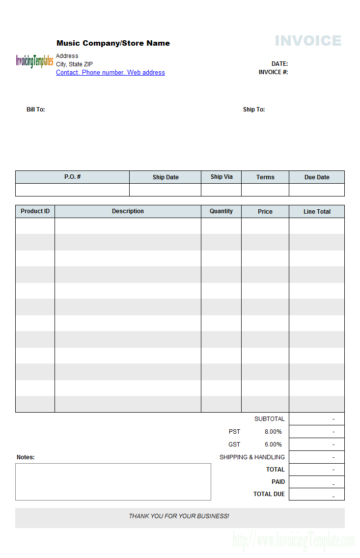 Music Store Invoice Template (Retail)