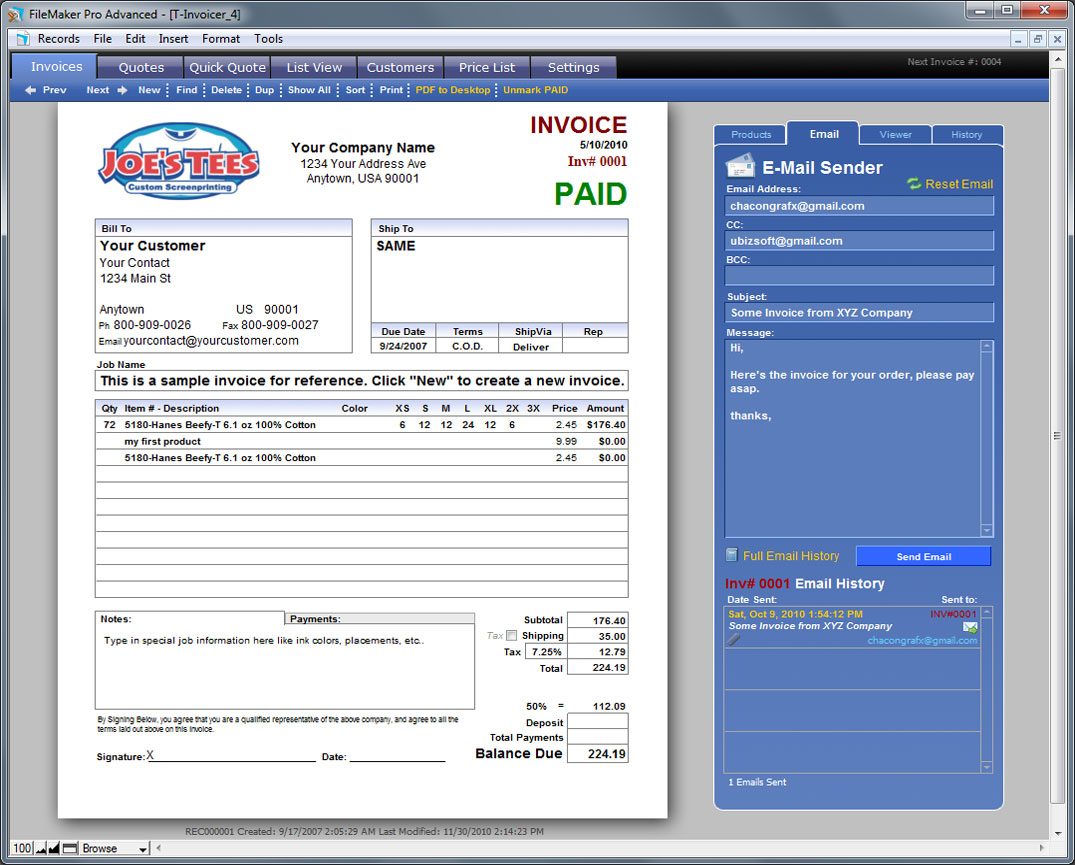 T Invoicer 4 Easy to Use Invoicing for Screen Printers and