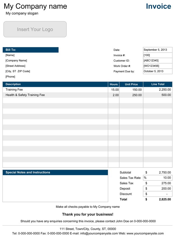 Service Invoice Templates for Excel