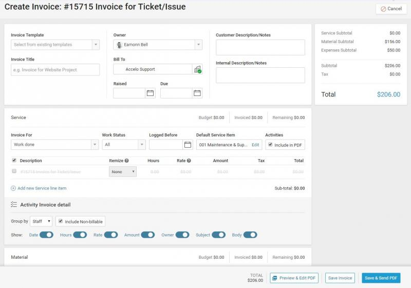 Ticket Invoicing | Accelo