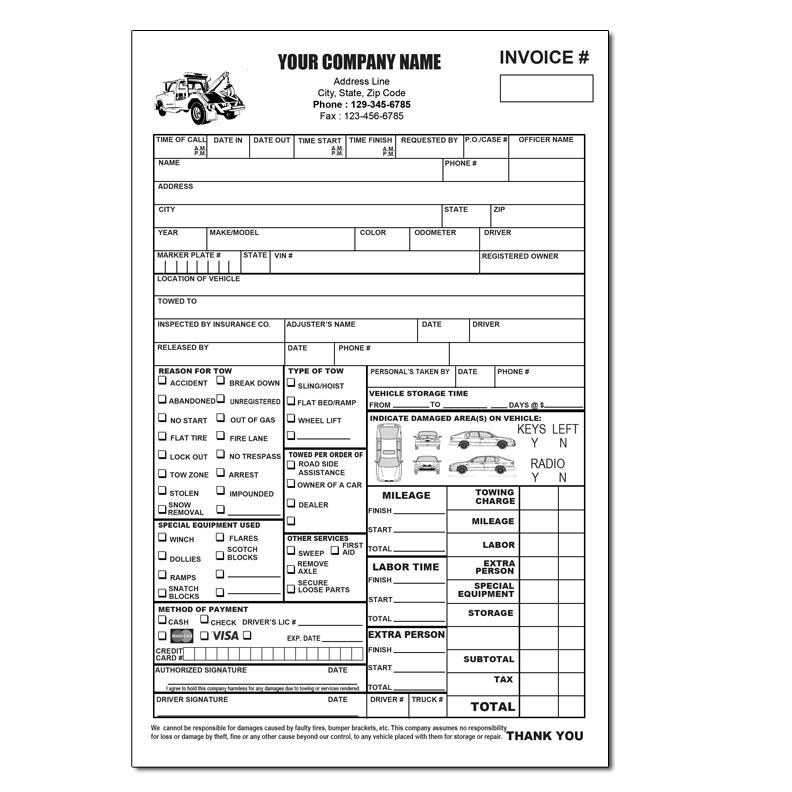 Towing Invoice Roadside Service Forms | DesignsnPrint