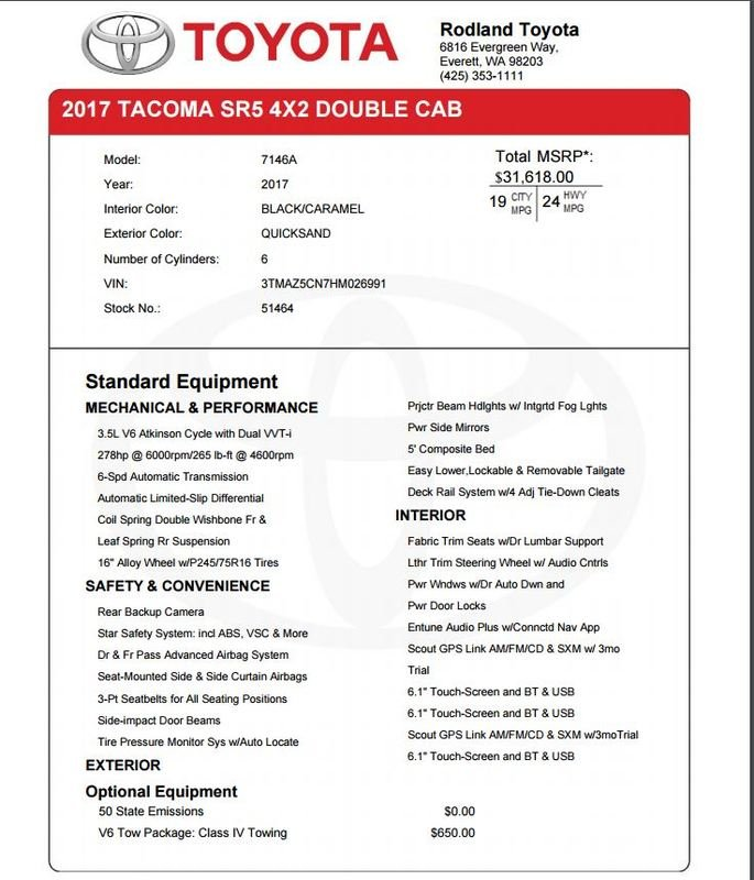 What would be the invoice price for 2017 tacoma SR5 DCSB 2WD V6