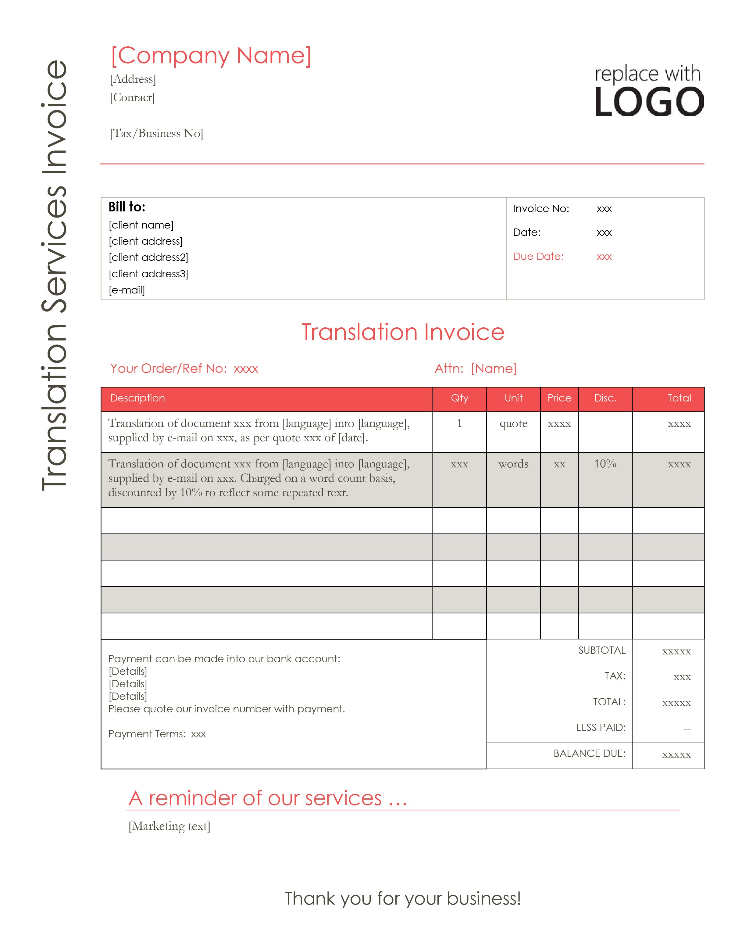 Online invoicing for translators professional invoices for