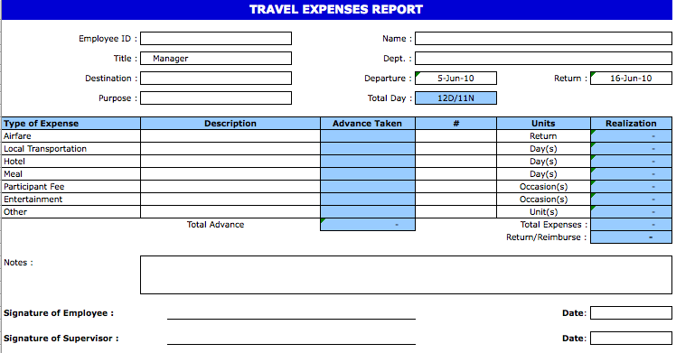 Travel Expense Report Template Apcc2017