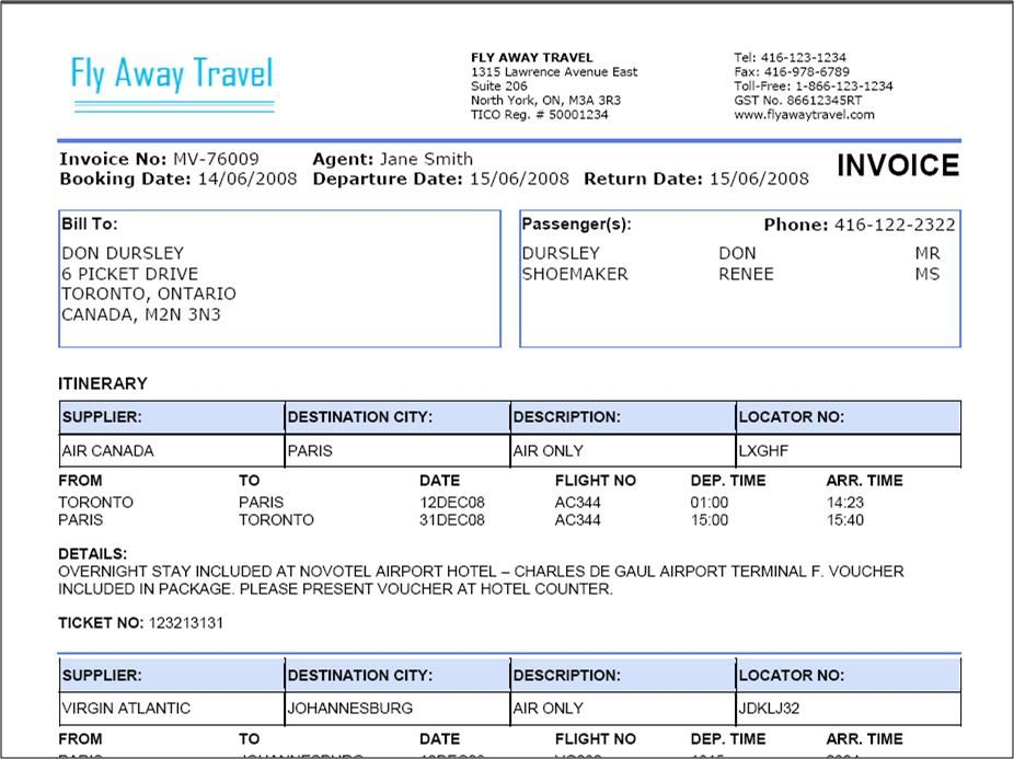 Travel Agency Invoice Format Excel | ALL TOUR | Pinterest
