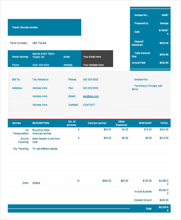 7+ Travel Invoice Samples – Examples in PDF, Word | Sample Templates