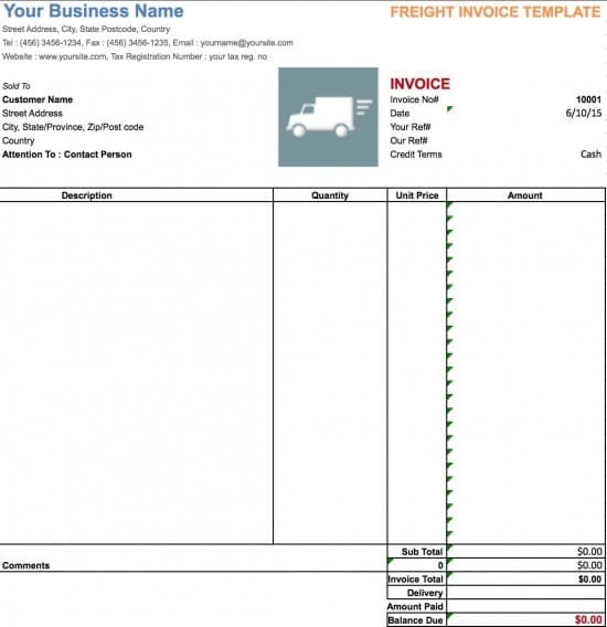 trucking invoice form template