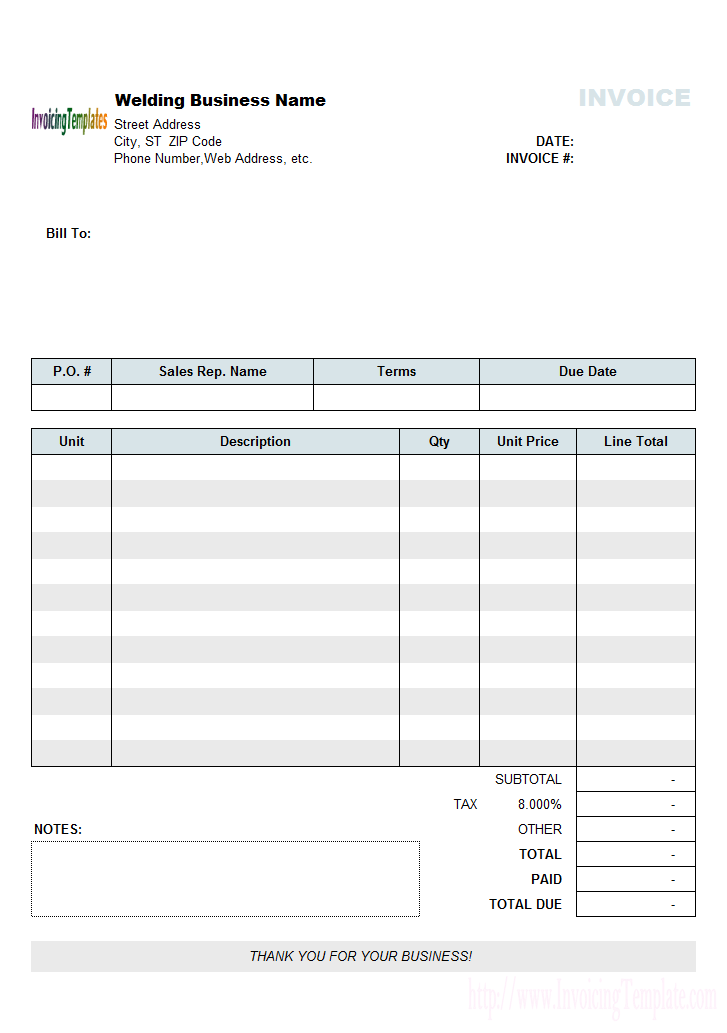 Welding Invoice Template