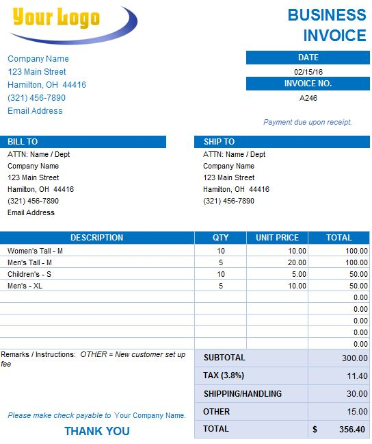 Free Excel Invoice Templates Smartsheet Invoice Template In Excel