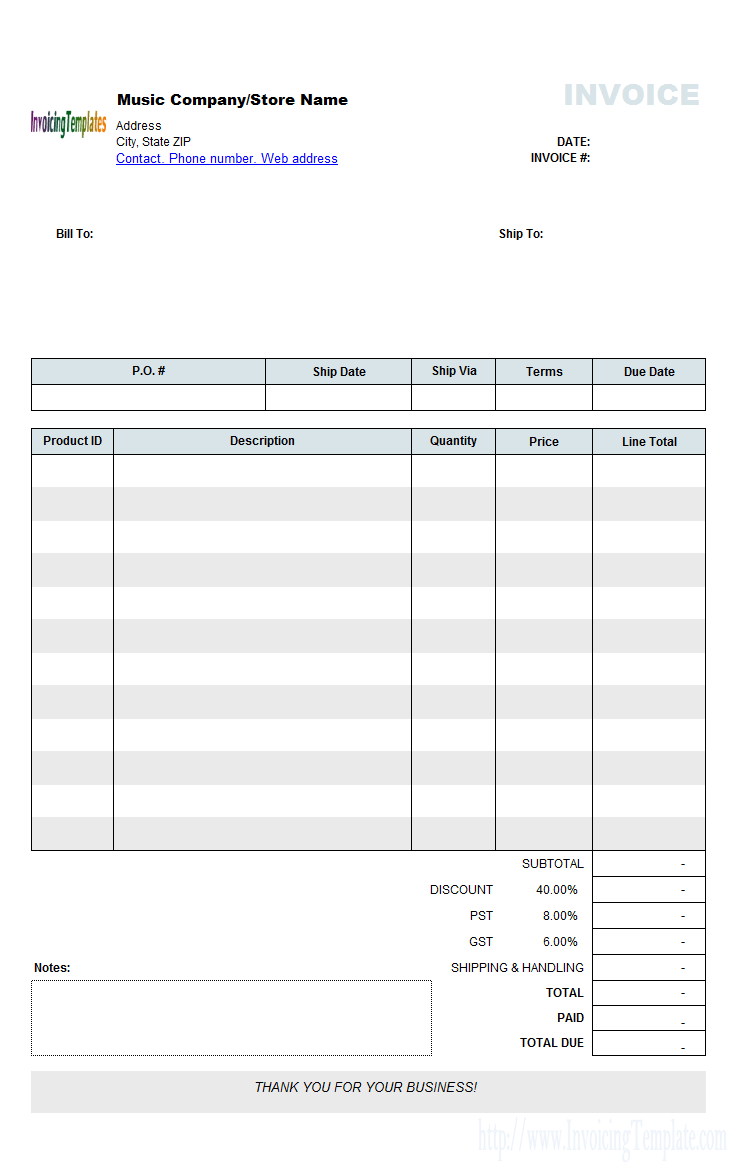 Music Store Invoicing Sample (Wholesale)