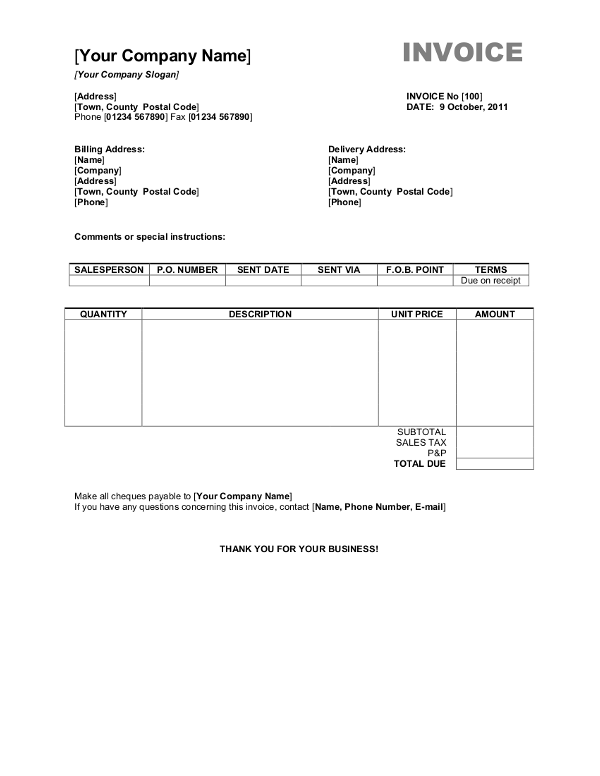 Invoice Format Word 19 Blank Invoice Templates Microsoft Word