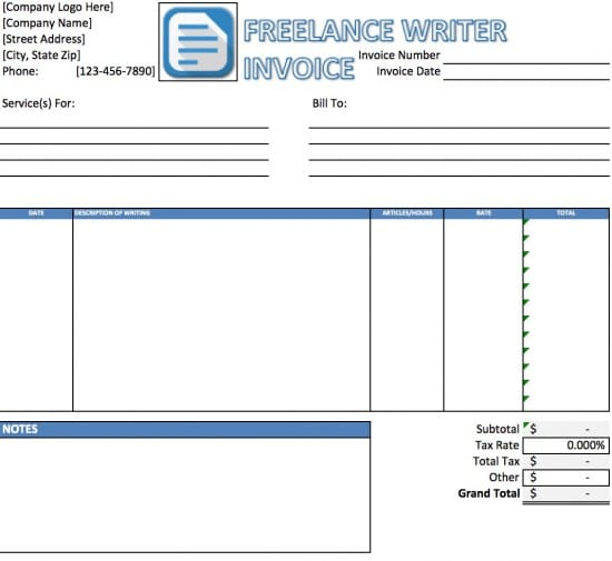 Sample Invoice for Writing & Editing Work