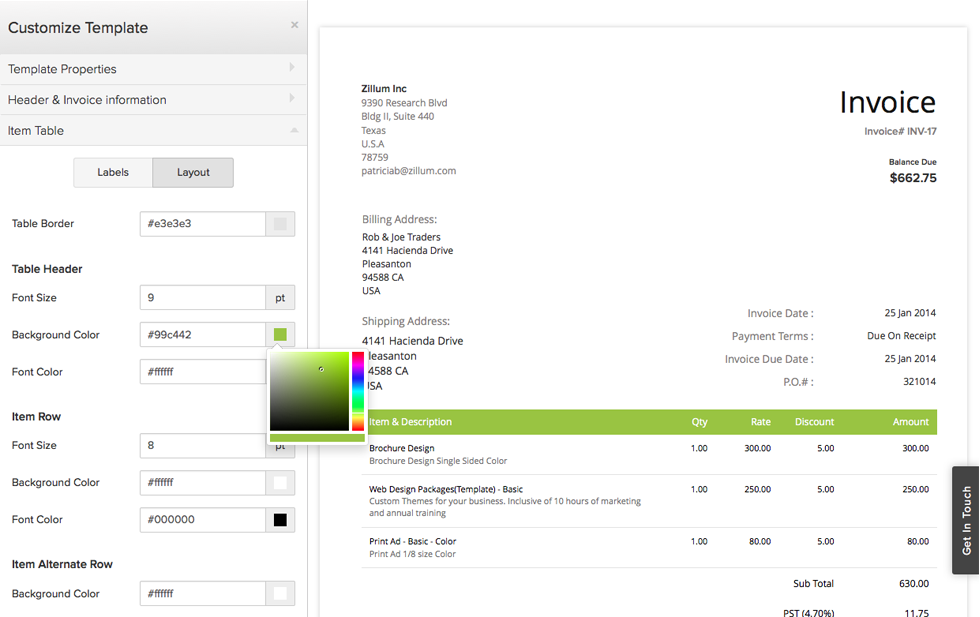 Invoice Template Gallery « Zoho Blog