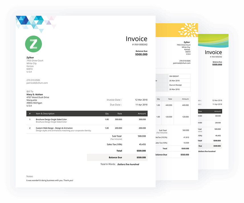 50+ Free Invoice Templates Print, Mail, Download PDF | Zoho Invoice